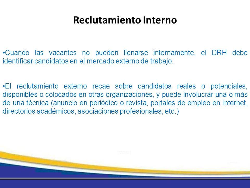Cuando las vacantes no pueden llenarse internamente, el DRH debe identificar candidatos en el mercado externo de trabajo. El reclutamiento externo rec