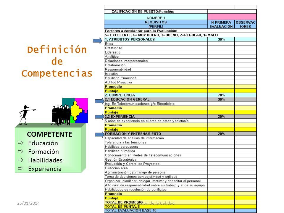 Gestion de las competencias por puesto 25/01/2014Maestría en Gestión de la Calidad
