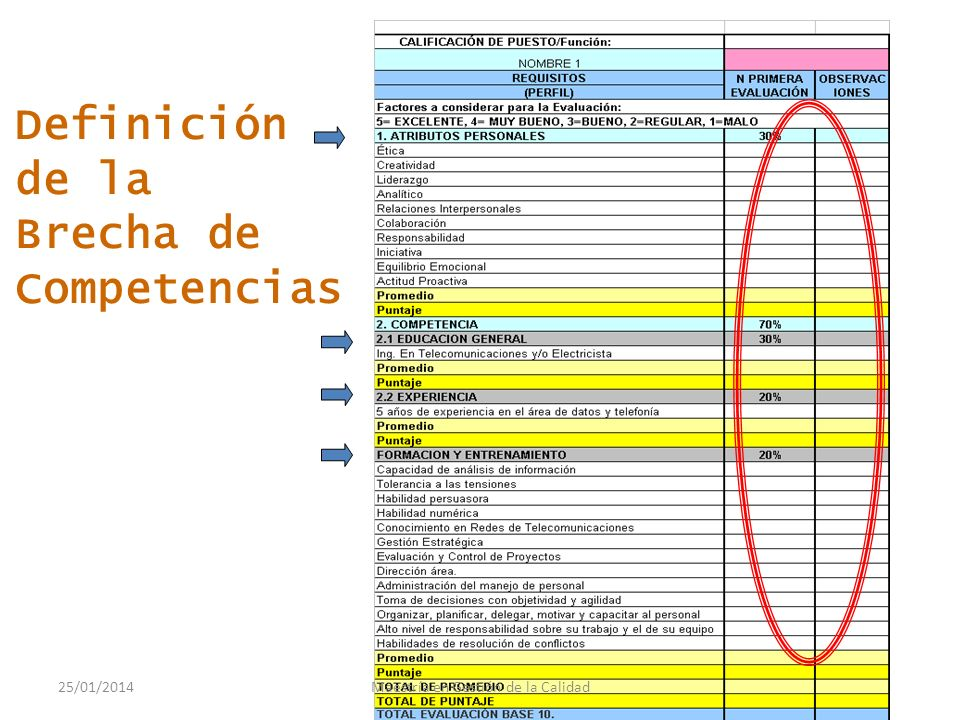 Definición de Competencias COMPETENTE Educación Formación Habilidades Experiencia 25/01/2014Maestría en Gestión de la Calidad
