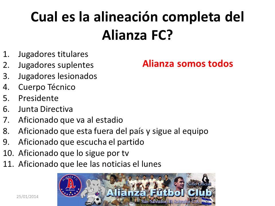 Cual es la alineación completa del Alianza FC? 1.Jugadores titulares 2.Jugadores suplentes 3.Jugadores lesionados 4.Cuerpo Técnico 5.Presidente 6.Junt