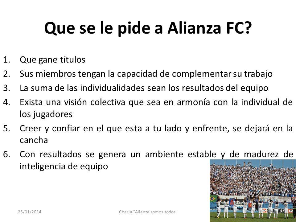 Que se le pide a Alianza FC? 1.Que gane títulos 2.Sus miembros tengan la capacidad de complementar su trabajo 3.La suma de las individualidades sean l
