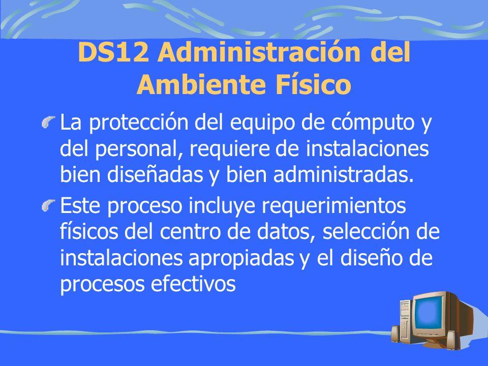 DS12 Administración del Ambiente Físico La protección del equipo de cómputo y del personal, requiere de instalaciones bien diseñadas y bien administradas.