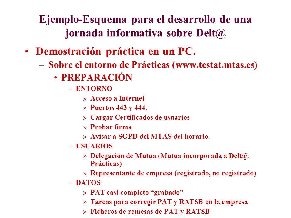Ejemplo-Esquema para el desarrollo de una jornada informativa sobre Delt@ Demostración práctica en un PC. –Sobre el entorno de Prácticas (www.testat.m