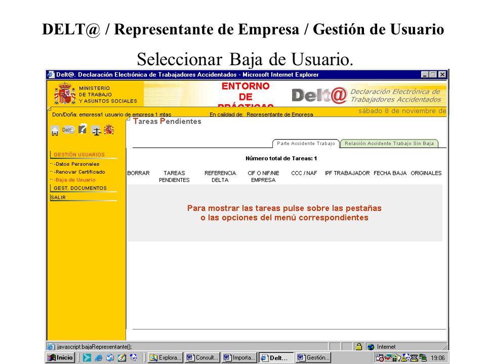 DELT@ / Representante de Empresa / Gestión de Usuario Seleccionar Baja de Usuario.