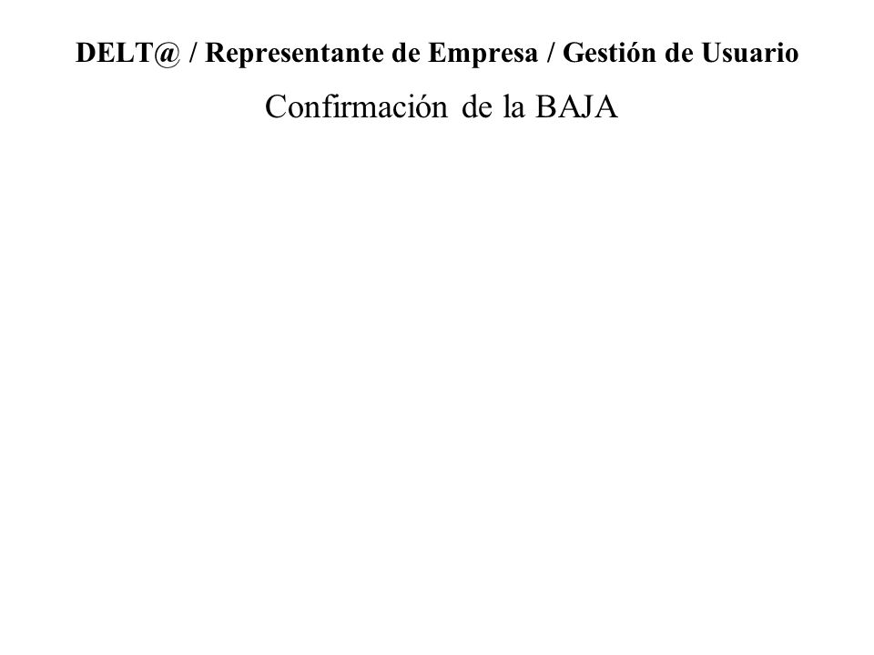DELT@ / Representante de Empresa / Gestión de Usuario Confirmación de la BAJA