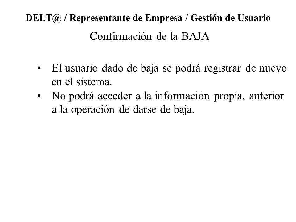 DELT@ / Representante de Empresa / Gestión de Usuario Confirmación de la BAJA El usuario dado de baja se podrá registrar de nuevo en el sistema.