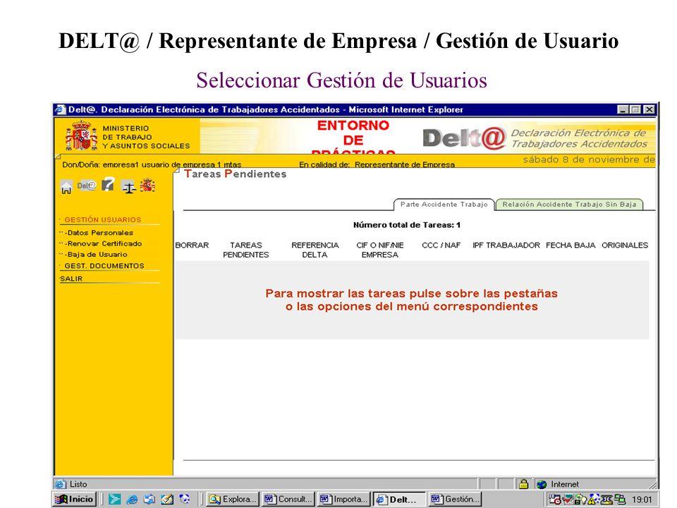 DELT@ / Representante de Empresa / Gestión de Usuario Seleccionar Gestión de Usuarios