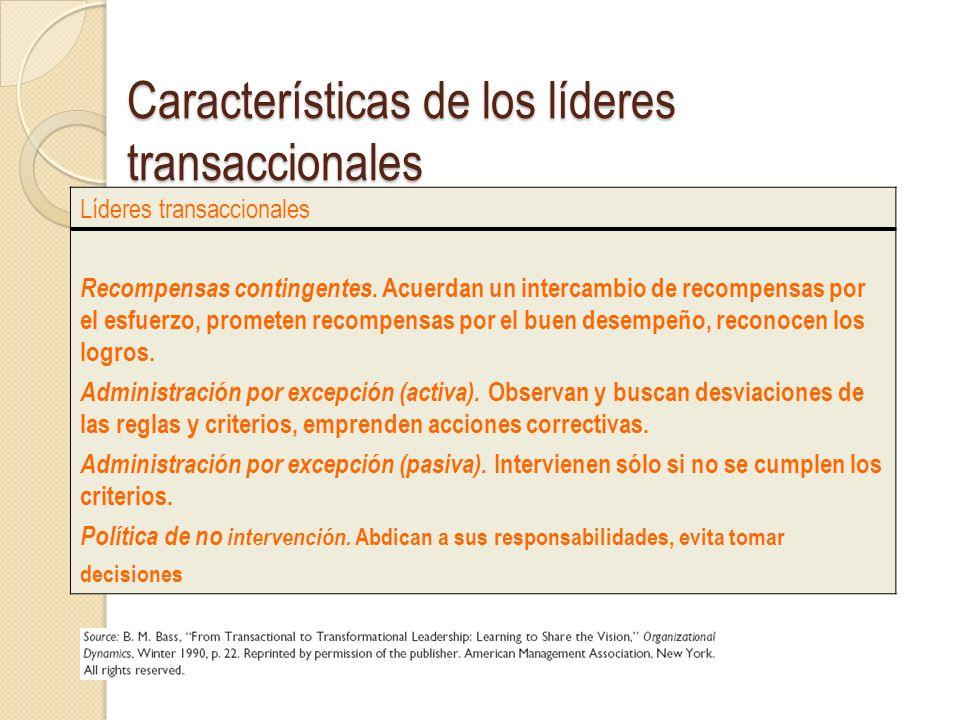 Características de los líderes transaccionales Líderes transaccionales Recompensas contingentes. Acuerdan un intercambio de recompensas por el esfuerz
