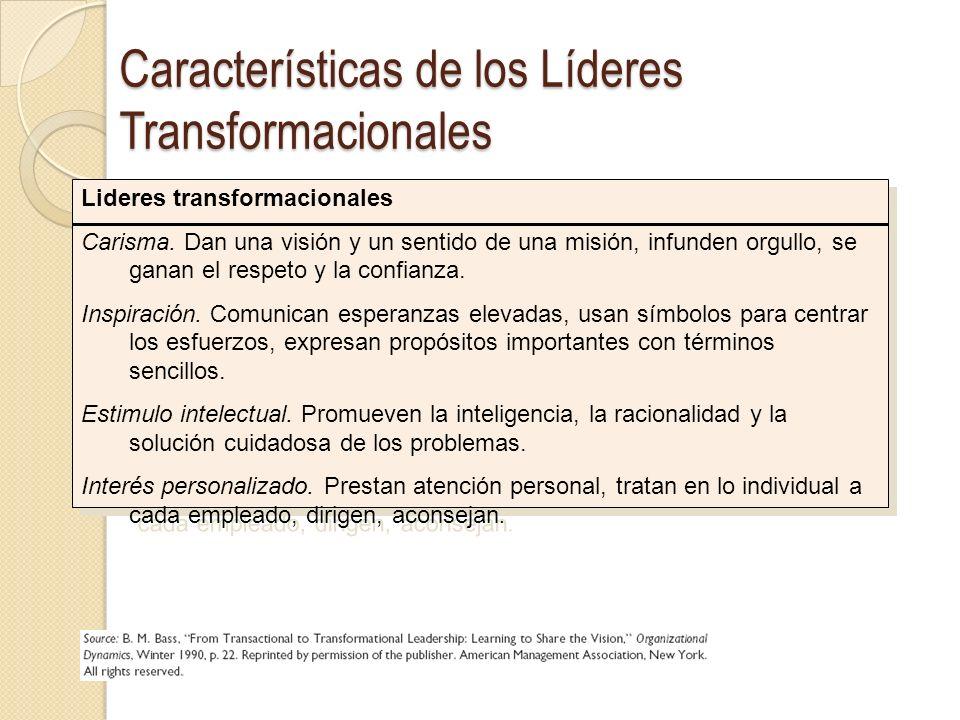 Características de los Líderes Transformacionales Lideres transformacionales Carisma. Dan una visión y un sentido de una misión, infunden orgullo, se