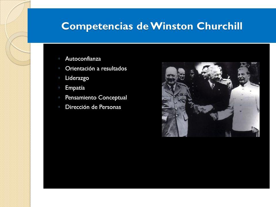 Competencias de Winston Churchill Autoconfianza Orientación a resultados Liderazgo Empatía Pensamiento Conceptual Dirección de Personas