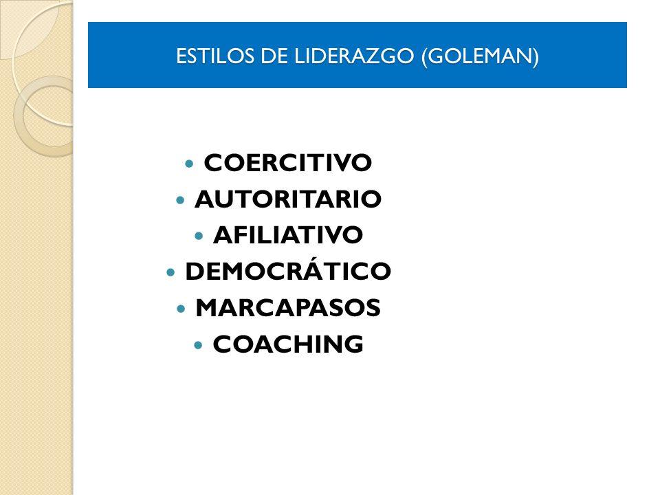 ESTILOS DE LIDERAZGO (GOLEMAN) COERCITIVO AUTORITARIO AFILIATIVO DEMOCRÁTICO MARCAPASOS COACHING
