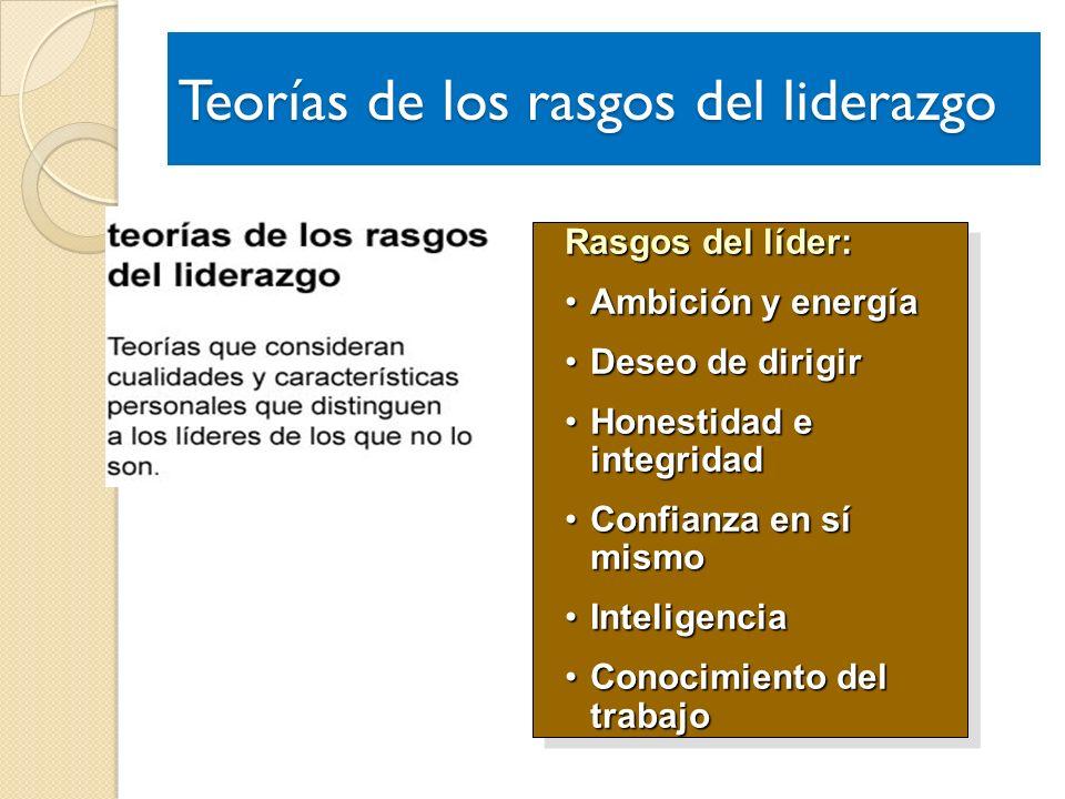 Rasgos del líder: Ambición y energíaAmbición y energía Deseo de dirigirDeseo de dirigir Honestidad e integridadHonestidad e integridad Confianza en sí