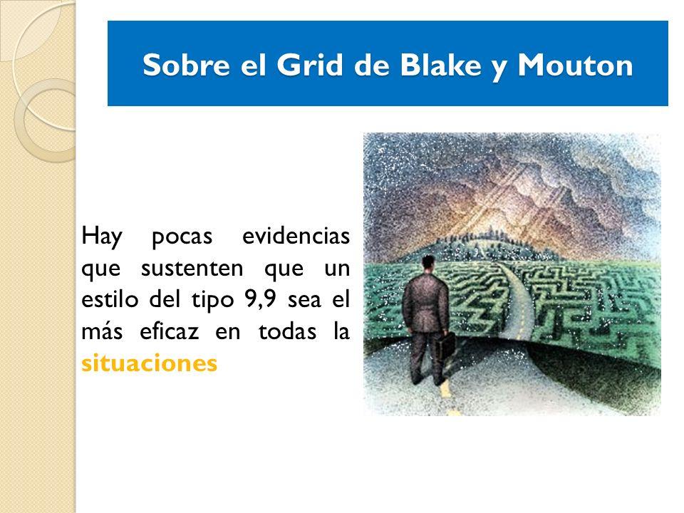 Sobre el Grid de Blake y Mouton Hay pocas evidencias que sustenten que un estilo del tipo 9,9 sea el más eficaz en todas la situaciones