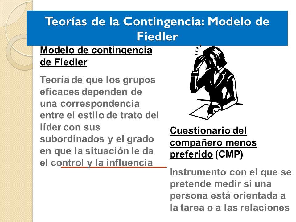 Teorías de la Contingencia: Modelo de Fiedler Cuestionario del compañero menos preferido (CMP) Instrumento con el que se pretende medir si una persona