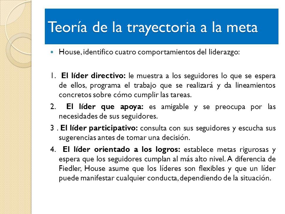 Teoría de la trayectoria a la meta House, identifico cuatro comportamientos del liderazgo: 1. El líder directivo: le muestra a los seguidores lo que s