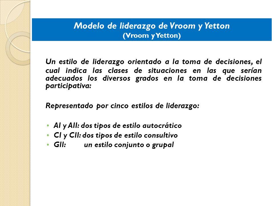 Modelo de liderazgo de Vroom y Yetton (Vroom y Yetton) Un estilo de liderazgo orientado a la toma de decisiones, el cual indica las clases de situacio