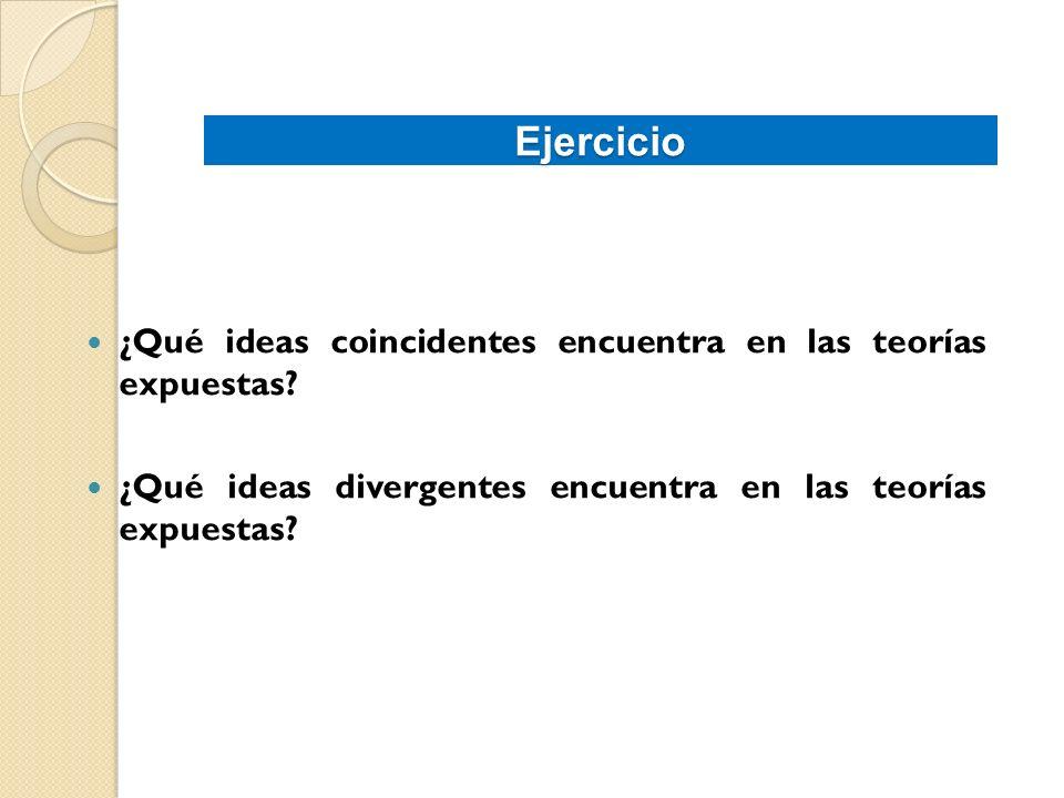 Ejercicio ¿Qué ideas coincidentes encuentra en las teorías expuestas? ¿Qué ideas divergentes encuentra en las teorías expuestas?