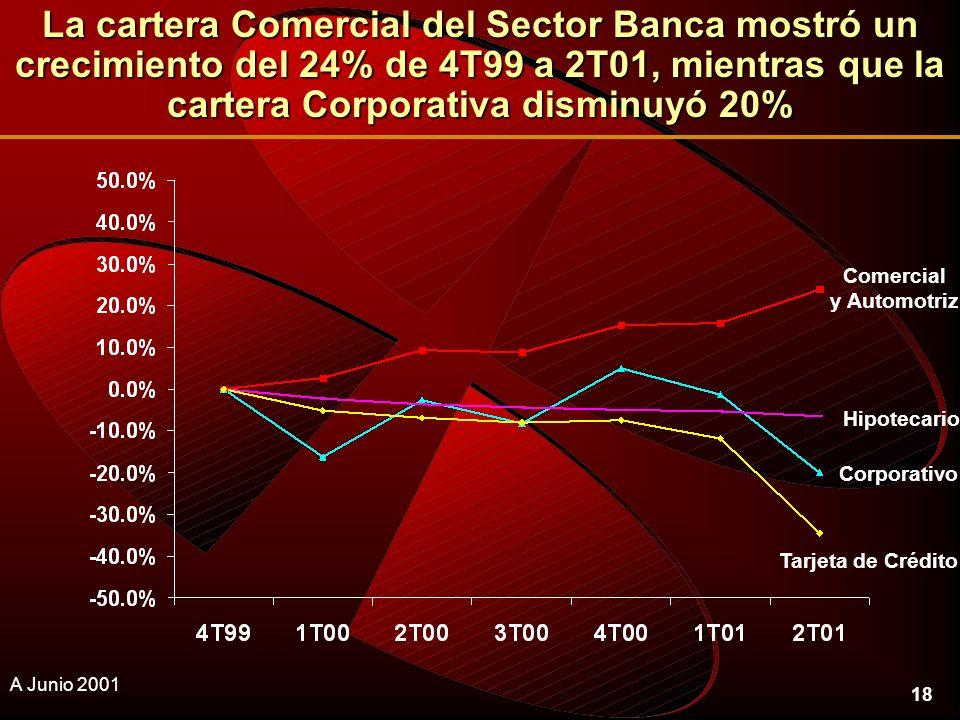 18 La cartera Comercial del Sector Banca mostró un crecimiento del 24% de 4T99 a 2T01, mientras que la cartera Corporativa disminuyó 20% A Junio 2001 Hipotecario Corporativo Tarjeta de Crédito Comercial y Automotriz