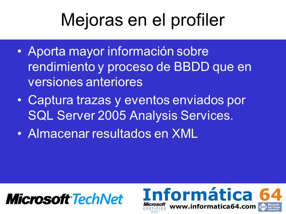 Mejoras en el profiler Aporta mayor información sobre rendimiento y proceso de BBDD que en versiones anteriores Captura trazas y eventos enviados por