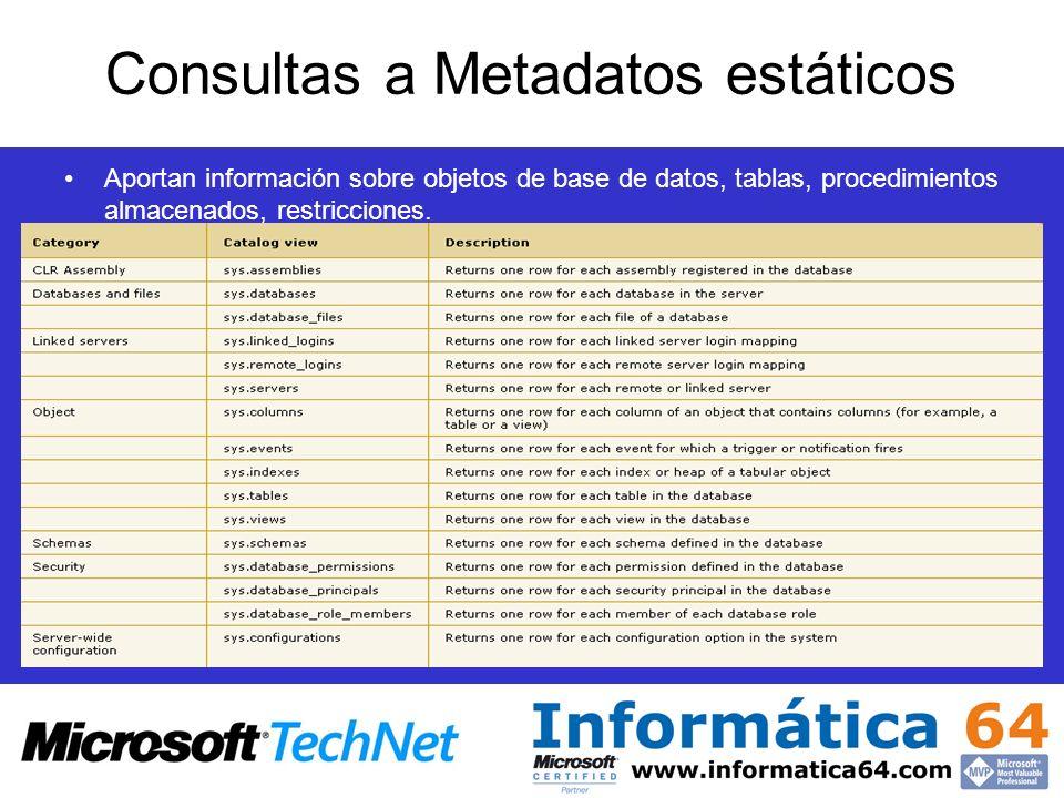 Consultas a Metadatos estáticos Aportan información sobre objetos de base de datos, tablas, procedimientos almacenados, restricciones.