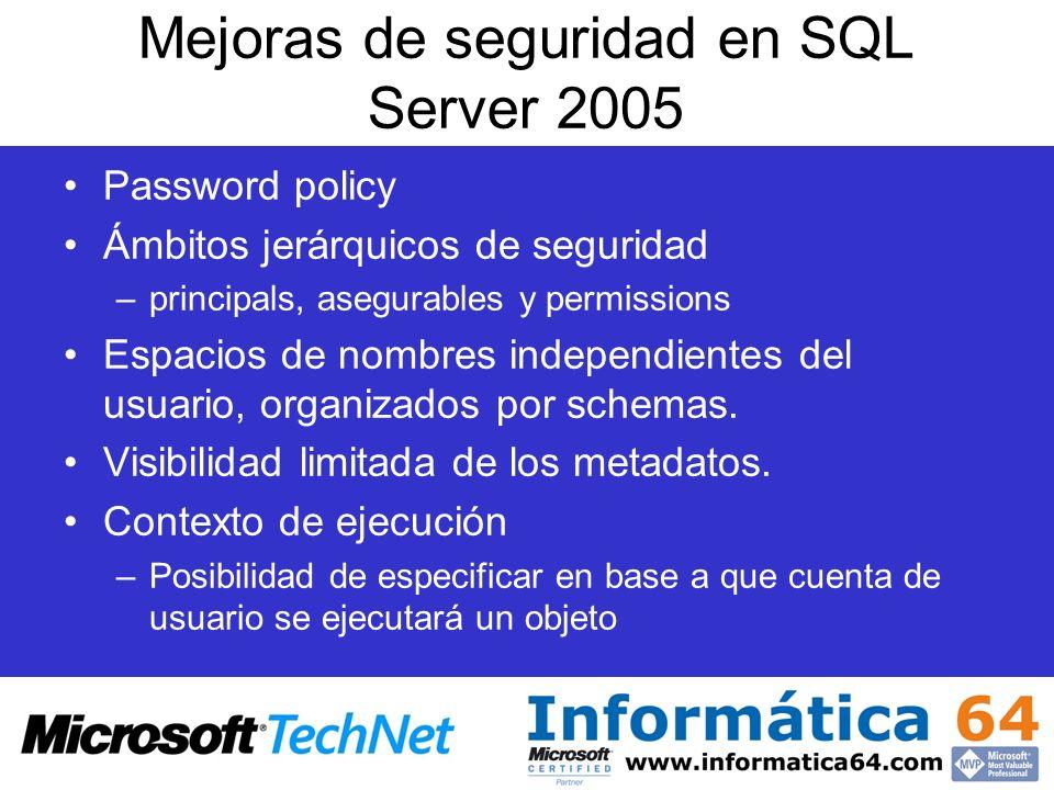Mejoras de seguridad en SQL Server 2005 Password policy Ámbitos jerárquicos de seguridad –principals, asegurables y permissions Espacios de nombres in