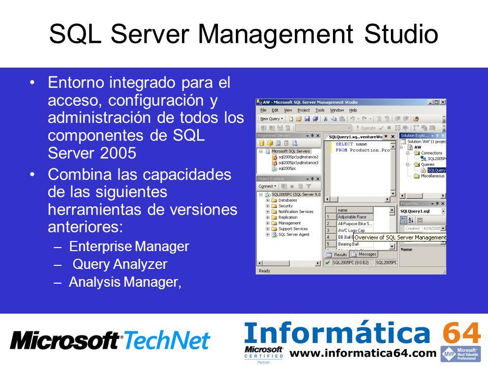 SQL Server Management Studio Entorno integrado para el acceso, configuración y administración de todos los componentes de SQL Server 2005 Combina las