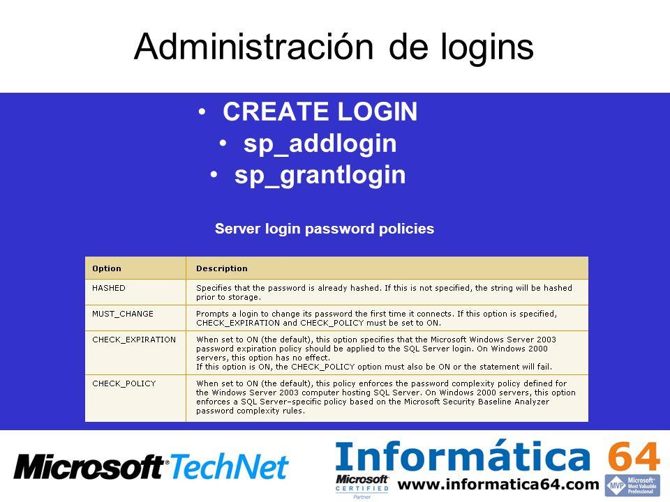 Administración de logins CREATE LOGIN sp_addlogin sp_grantlogin Server login password policies