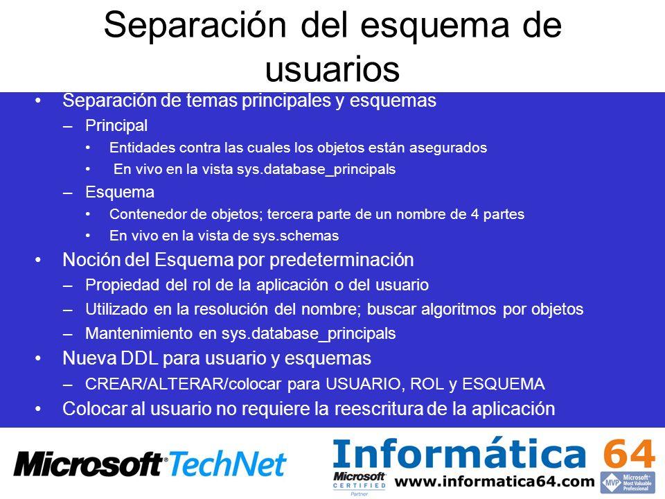 Separación del esquema de usuarios Separación de temas principales y esquemas –Principal Entidades contra las cuales los objetos están asegurados En v