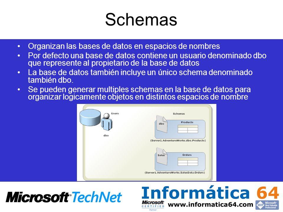 Schemas Organizan las bases de datos en espacios de nombres Por defecto una base de datos contiene un usuario denominado dbo que represente al propiet