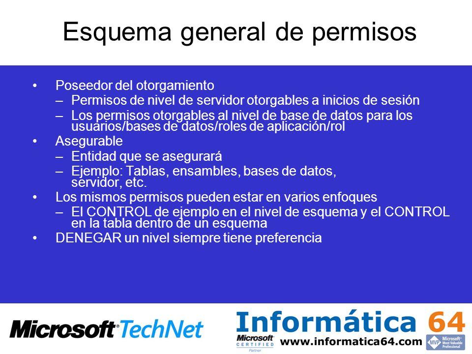 Esquema general de permisos Poseedor del otorgamiento –Permisos de nivel de servidor otorgables a inicios de sesión –Los permisos otorgables al nivel