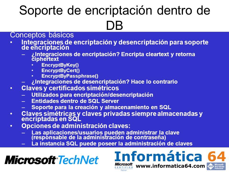 Soporte de encriptación dentro de DB Conceptos básicos Integraciones de encriptación y desencriptación para soporte de encriptación –¿Integraciones de