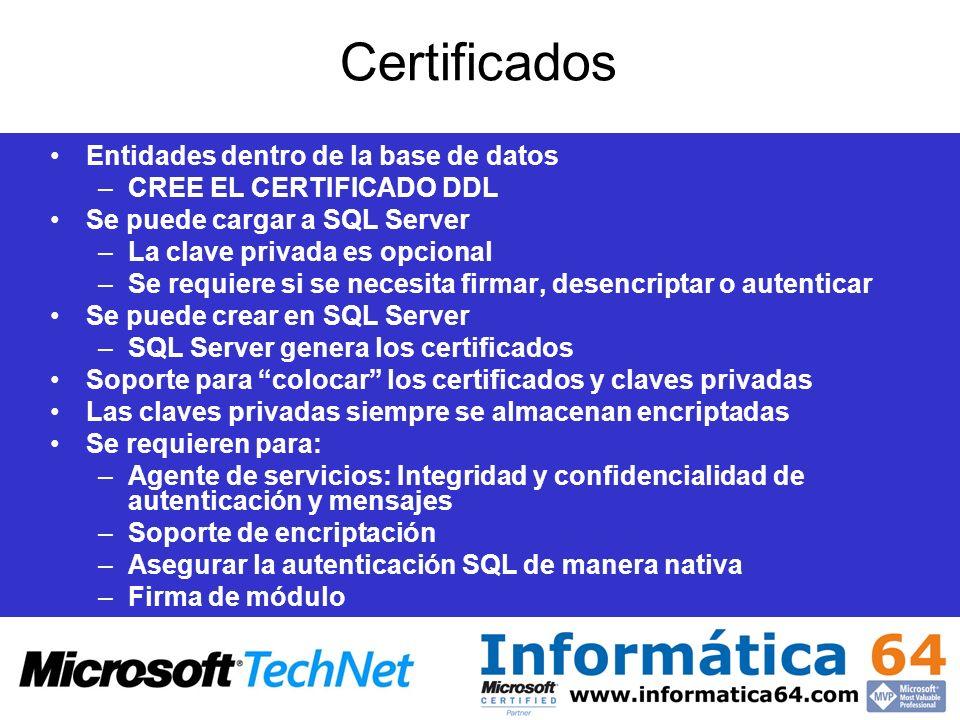 Certificados Entidades dentro de la base de datos –CREE EL CERTIFICADO DDL Se puede cargar a SQL Server –La clave privada es opcional –Se requiere si