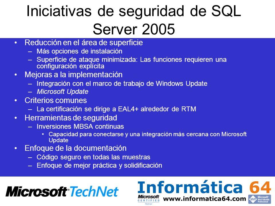 Iniciativas de seguridad de SQL Server 2005 Reducción en el área de superficie –Más opciones de instalación –Superficie de ataque minimizada: Las func
