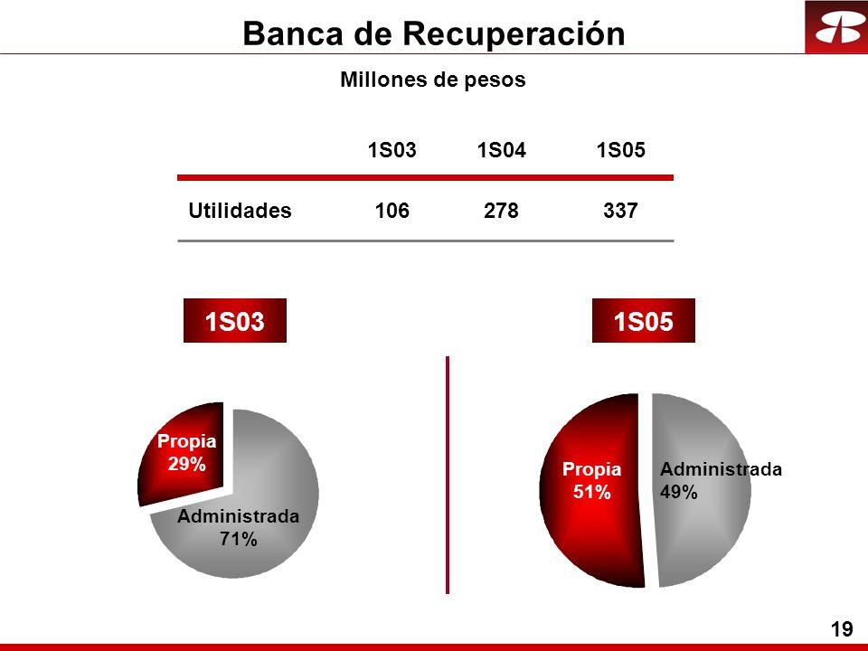 19 Banca de Recuperación Utilidades 1S031S05 Propia 51% Administrada 49% Millones de pesos 1S03 106 1S04 278 1S05 337 Propia 29% Administrada 71%