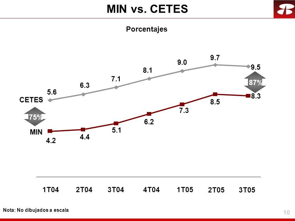 10 MIN vs. CETES Porcentajes CETES 1T042T043T04 87% 4T041T05 5.6 6.3 7.1 8.1 9.0 9.7 2T05 9.5 3T05 MIN 4.2 4.4 5.1 75% 6.2 7.3 8.5 8.3 Nota: No dibuja