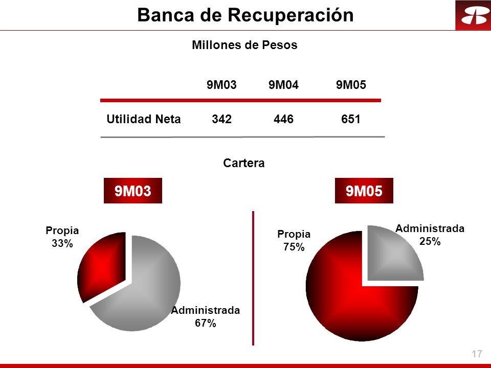 17 Banca de Recuperación Utilidad Neta 9M039M05 Administrada 25% Millones de Pesos 9M03 342 9M04 446 9M05 651 Propia 33% Administrada 67% Cartera Prop