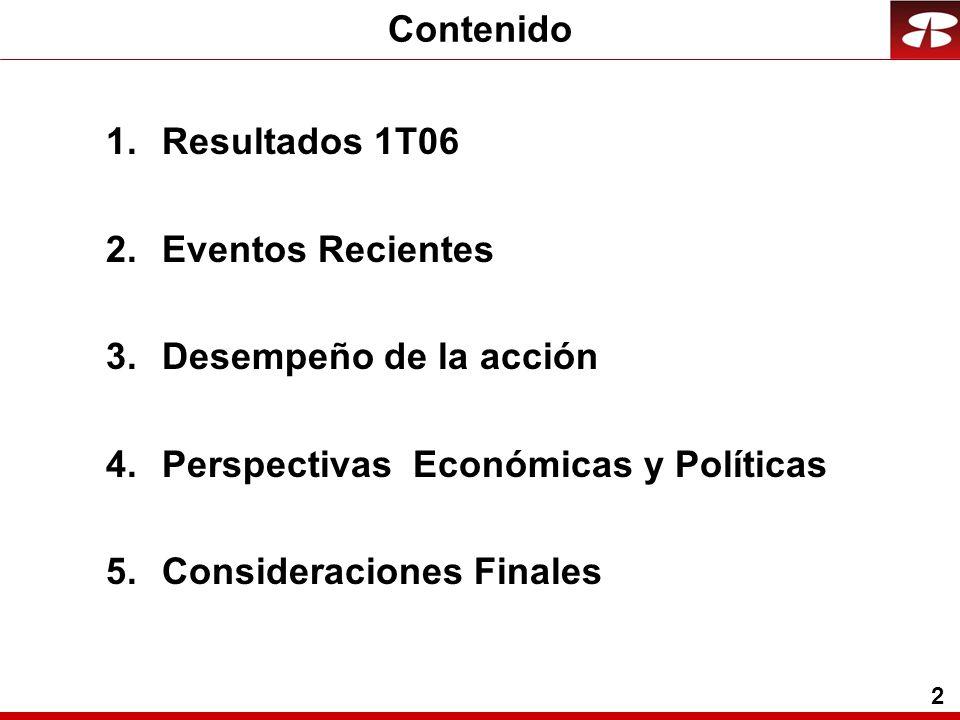 2 1.Resultados 1T06 2.Eventos Recientes 3.Desempeño de la acción 4.Perspectivas Económicas y Políticas 5.Consideraciones Finales Contenido