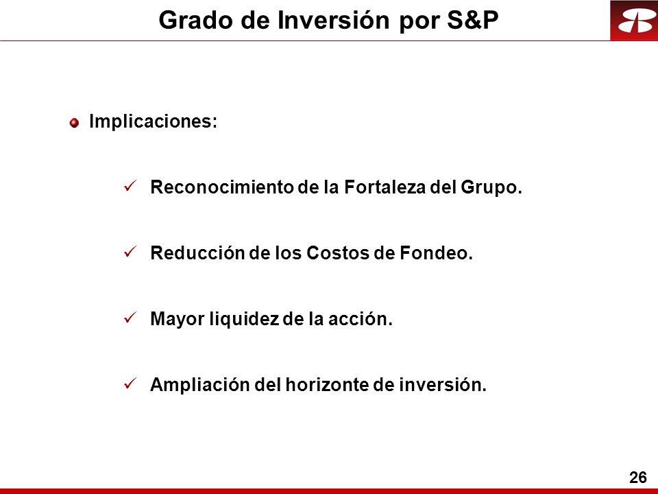 26 Grado de Inversión por S&P Implicaciones: Reconocimiento de la Fortaleza del Grupo.