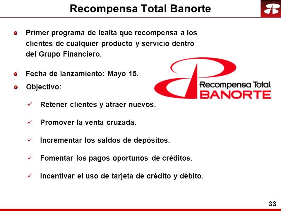 33 Recompensa Total Banorte Objectivo: Retener clientes y atraer nuevos.