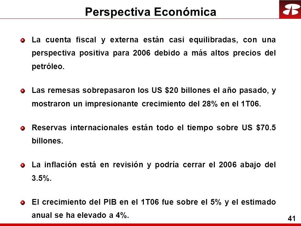 41 Perspectiva Económica La cuenta fiscal y externa están casi equilibradas, con una perspectiva positiva para 2006 debido a más altos precios del petróleo.