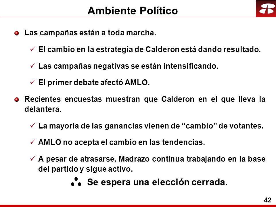 42 Ambiente Político Las campañas están a toda marcha.
