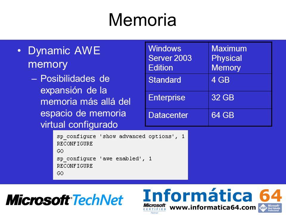 Memoria Dynamic AWE memory –Posibilidades de expansión de la memoria más allá del espacio de memoria virtual configurado Windows Server 2003 Edition M