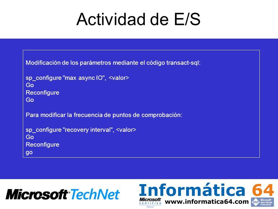 Actividad de E/S Max async io: Establecido a 32 solicitudes de E/S pendientes a un archivo como máximo. Mejora del rendimiento de E/S aprovechando las