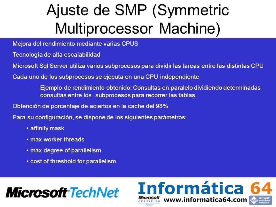 Ajuste de SMP (Symmetric Multiprocessor Machine) Mejora del rendimiento mediante varias CPUS Tecnología de alta escalabilidad Microsoft Sql Server uti