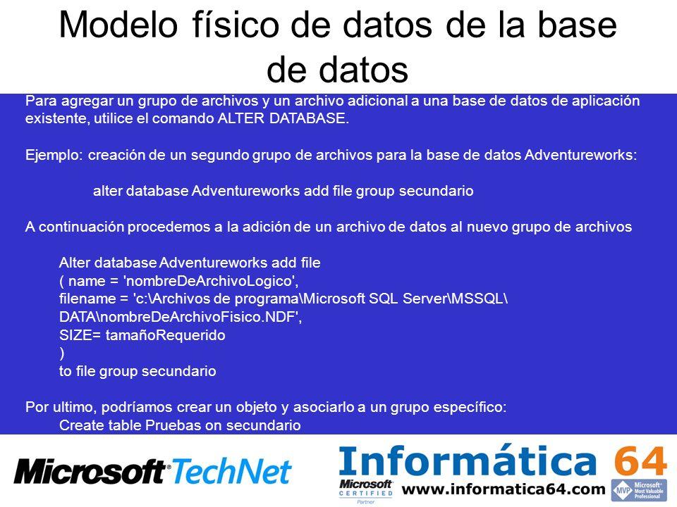 Modelo físico de datos de la base de datos Para agregar un grupo de archivos y un archivo adicional a una base de datos de aplicación existente, utili