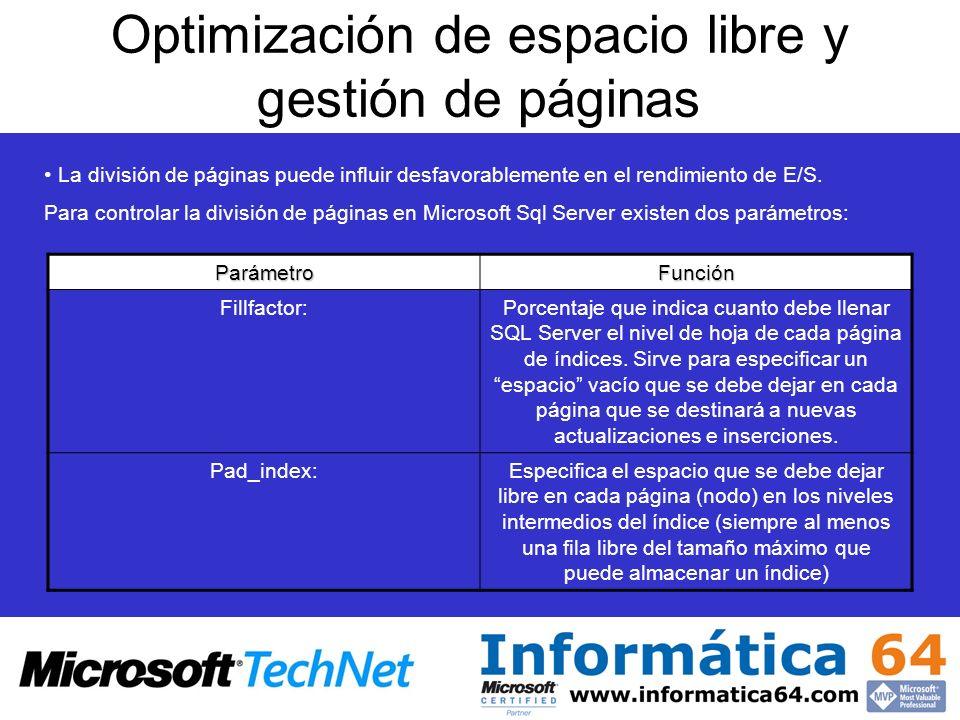Optimización de espacio libre y gestión de páginas La división de páginas puede influir desfavorablemente en el rendimiento de E/S. Para controlar la