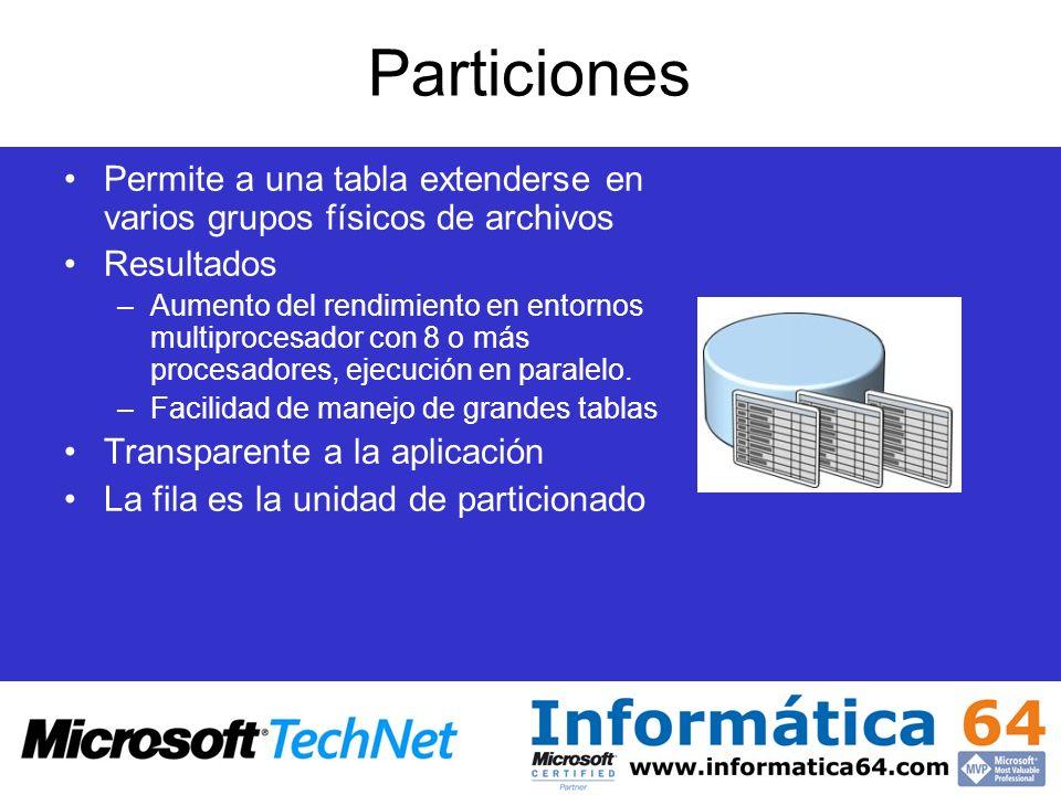 Particiones Permite a una tabla extenderse en varios grupos físicos de archivos Resultados –Aumento del rendimiento en entornos multiprocesador con 8
