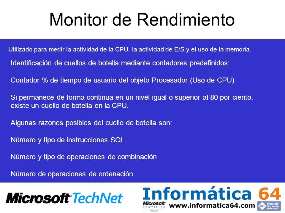 Monitor de Rendimiento Utilizado para medir la actividad de la CPU, la actividad de E/S y el uso de la memoria. Identificación de cuellos de botella m