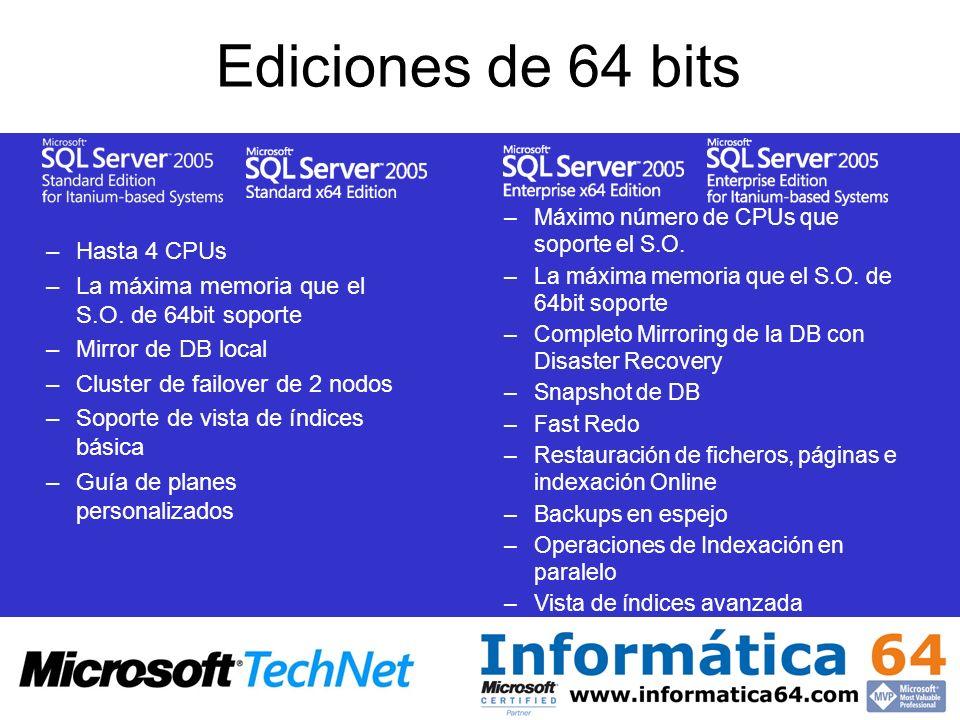 Ediciones de 64 bits –Hasta 4 CPUs –La máxima memoria que el S.O. de 64bit soporte –Mirror de DB local –Cluster de failover de 2 nodos –Soporte de vis