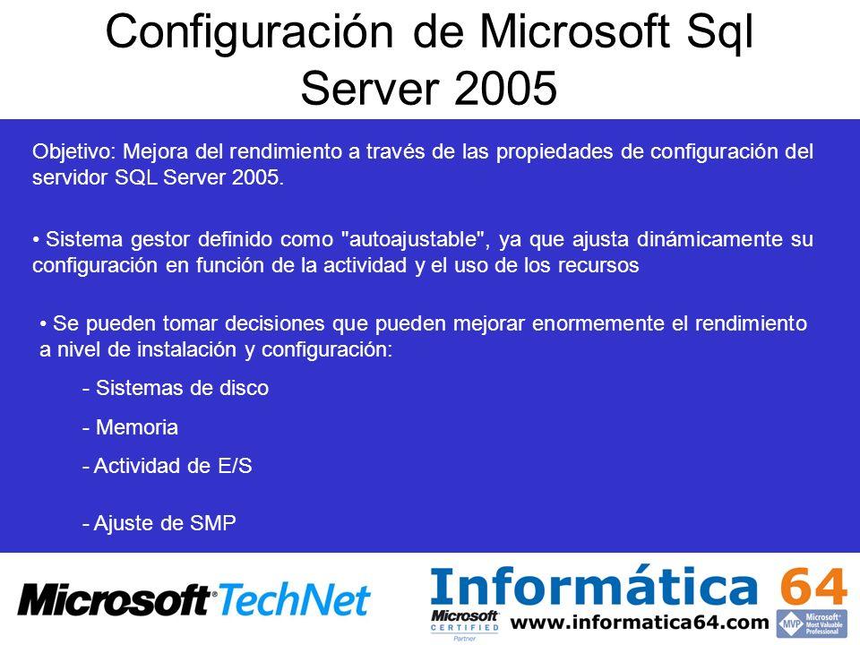 Configuración de Microsoft Sql Server 2005 Objetivo: Mejora del rendimiento a través de las propiedades de configuración del servidor SQL Server 2005.